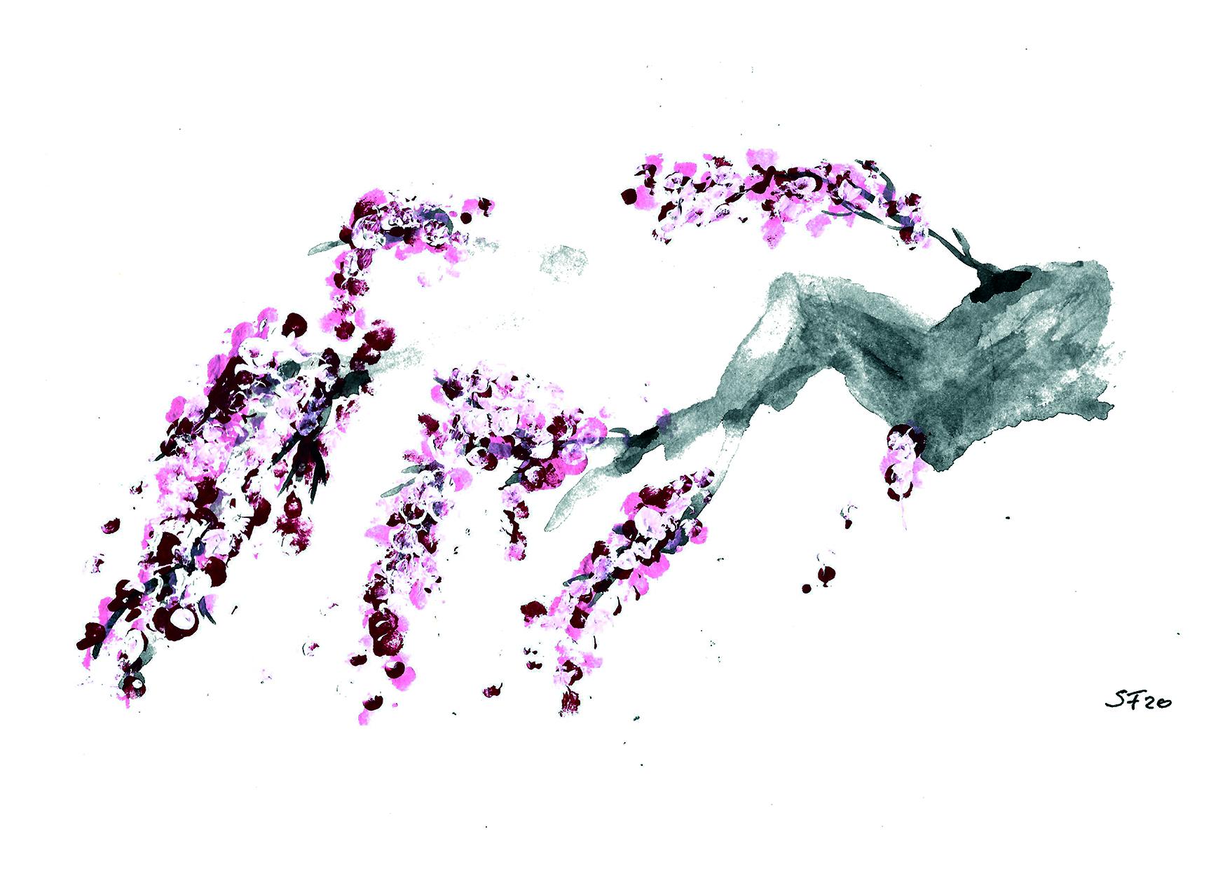 Acryl Kirschblüten am Stamm 04/20