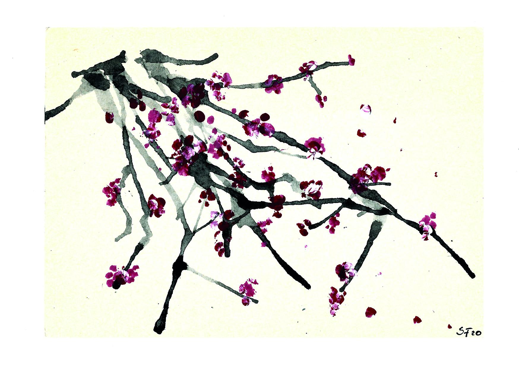 Acryl Kirschblüten am Zweig I 04/20