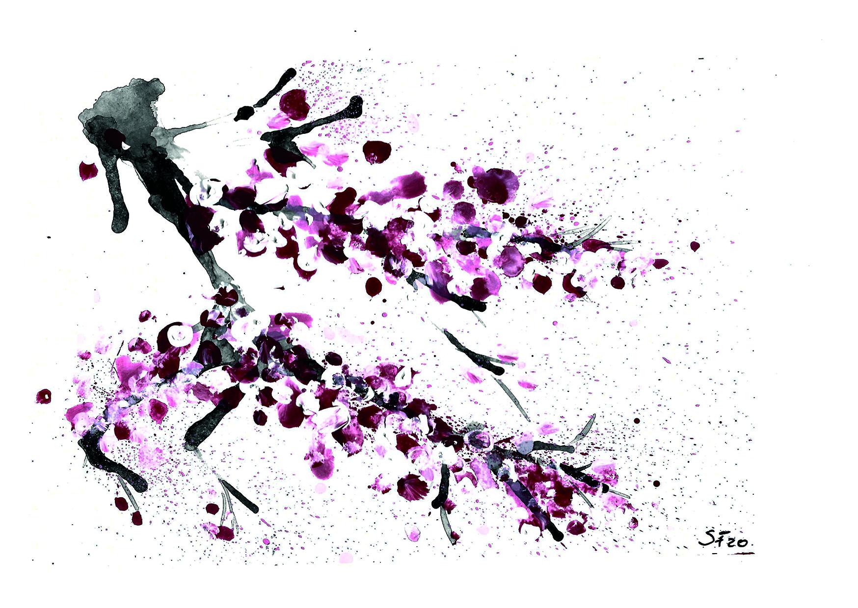 Acryl Kirschblüten am Zweig II 04/20