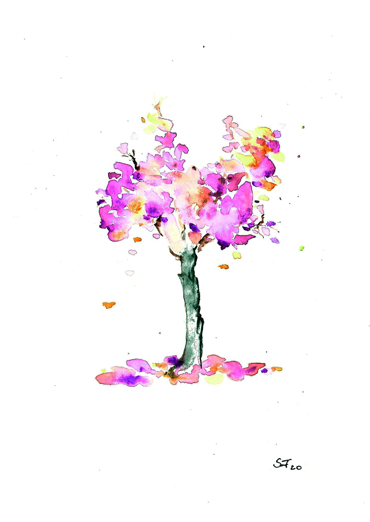 Aquarell Baum rosa Krone 03/20