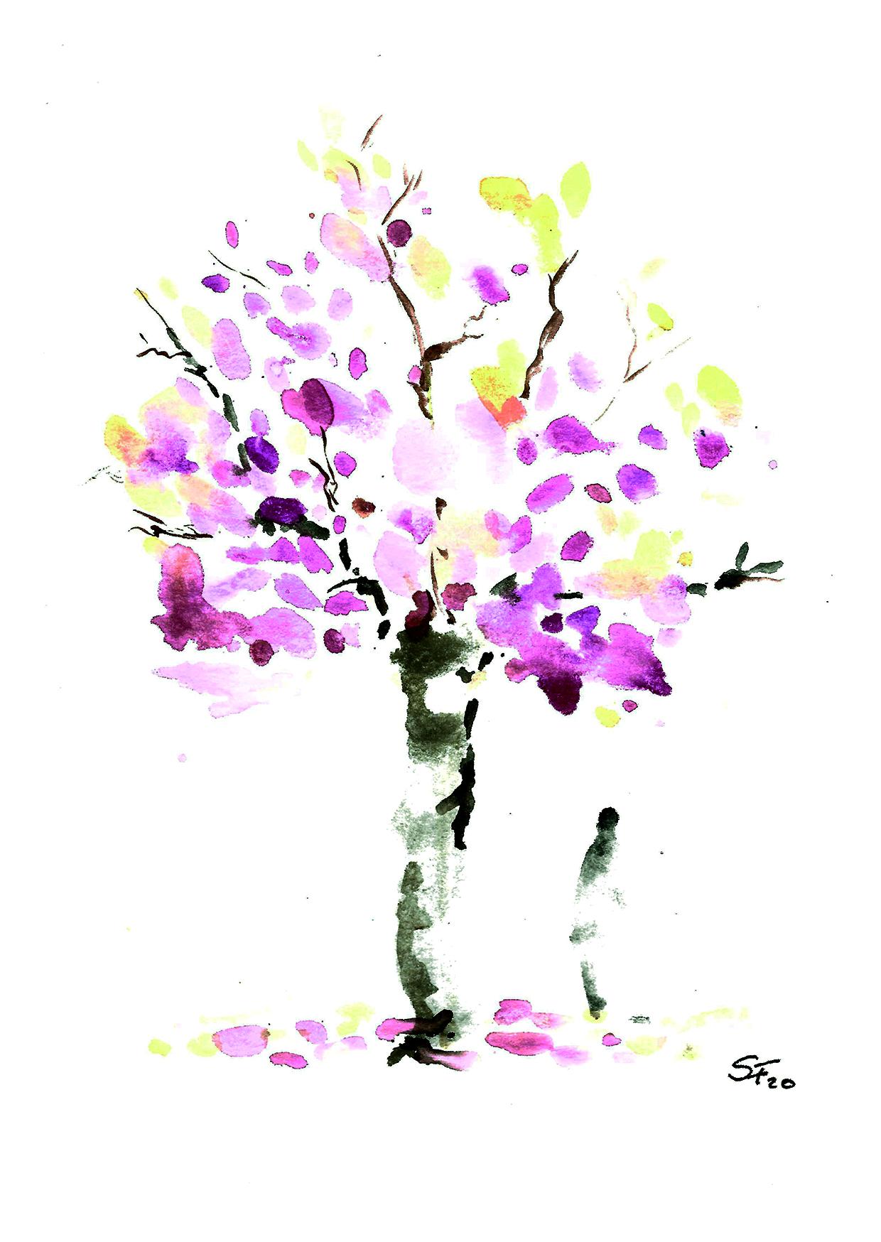 Aquarell Baum rosa Krone mit Person 03/20