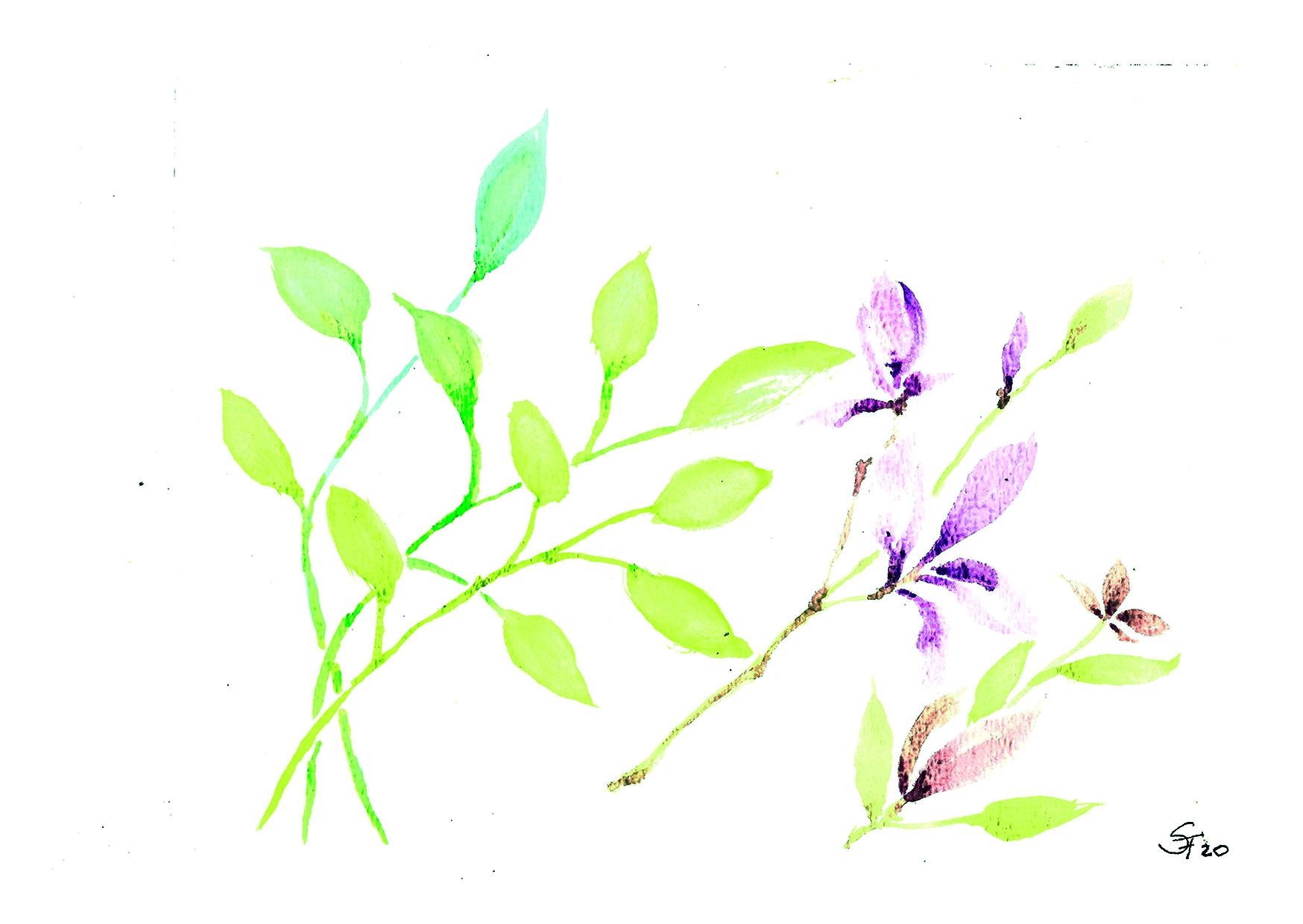 Aquarell Blätter und rosa Blüten 03/20