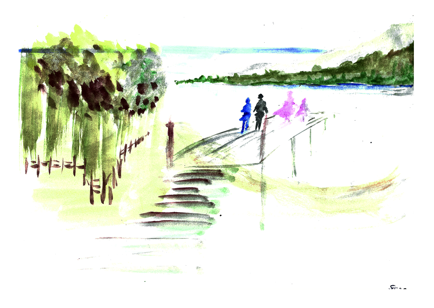 Aquarell Brücke am See 03/20