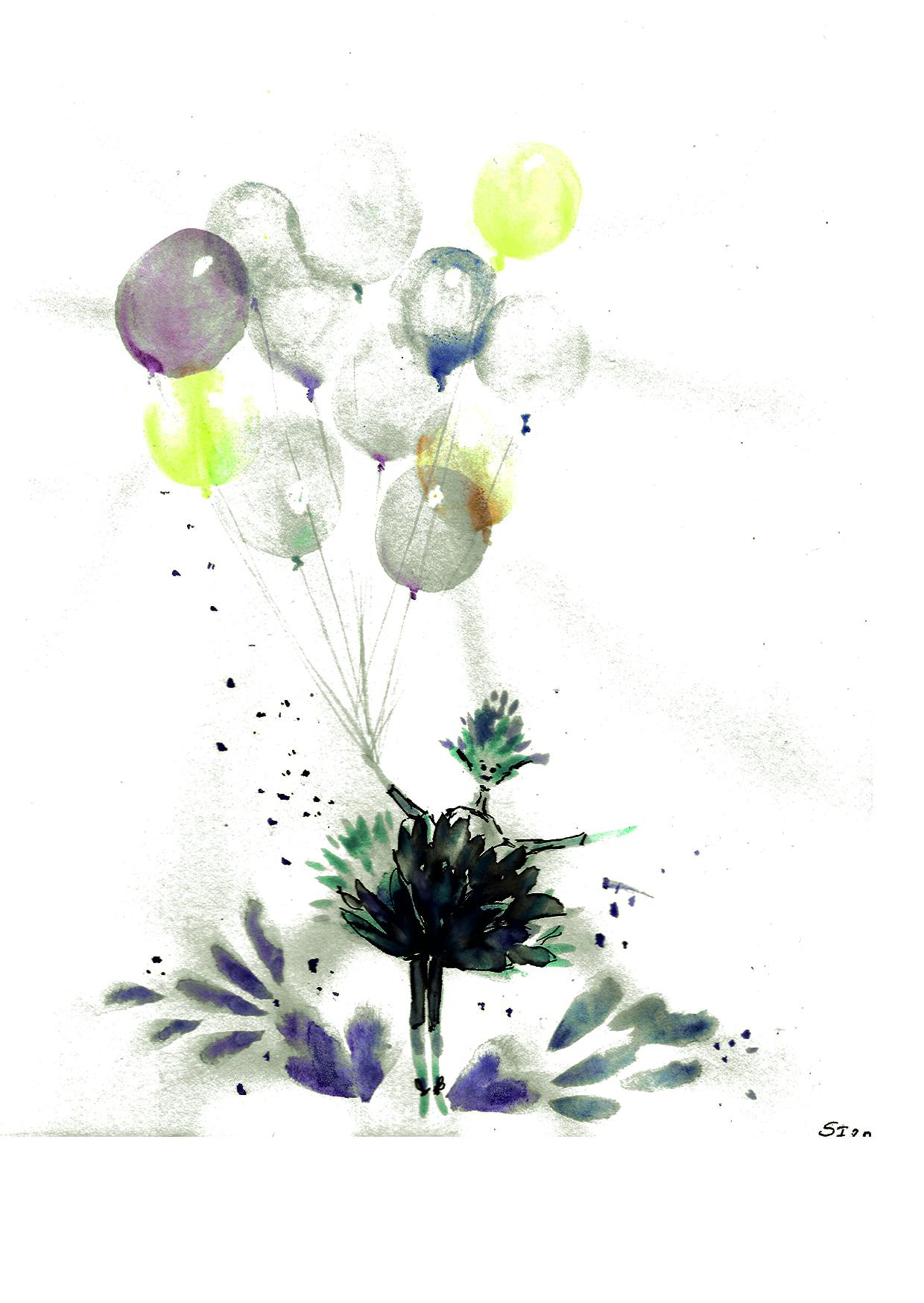 Aquarell Luftballons mit Elfe 03/20