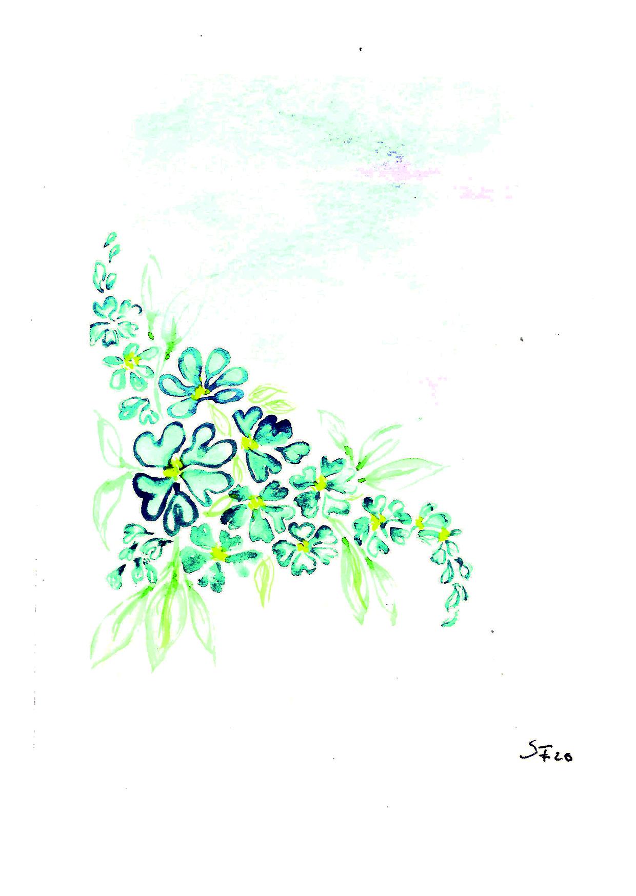 Aquarell blaue Blüten Girlande 04/20