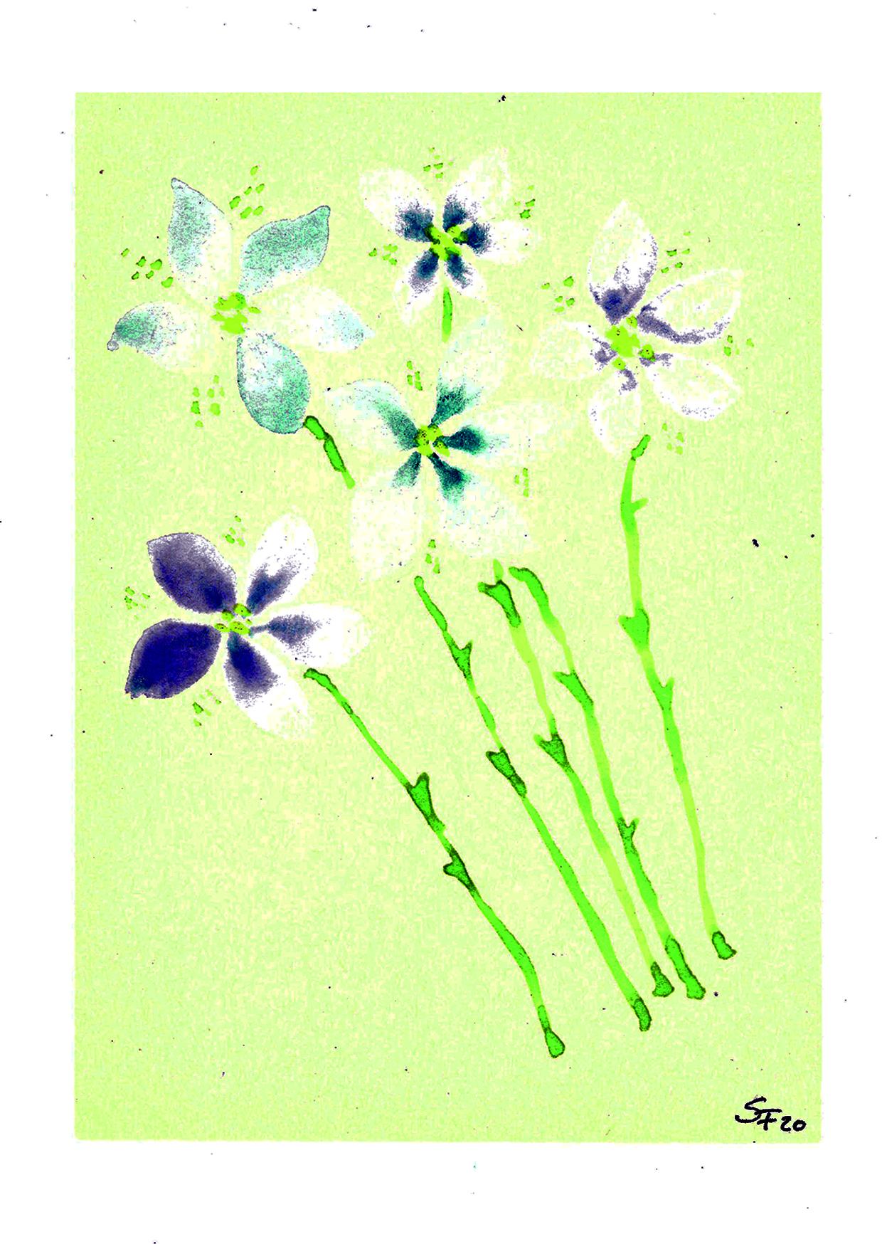 Aquarell blaue Blütenstiele 04/20